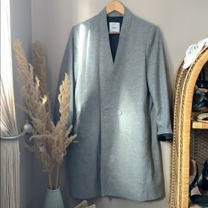 Mango Suit Long Grey Blazer Jacket Wool Blend Med